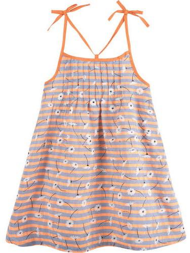 Toddler Girls' Neon Orange Floral Dress with Shoulder Ties