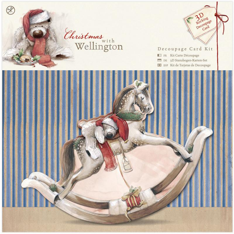 "Wellington Christmas Decoupage Card Kit-rocking Horse; Makes [1] 6""x6"""