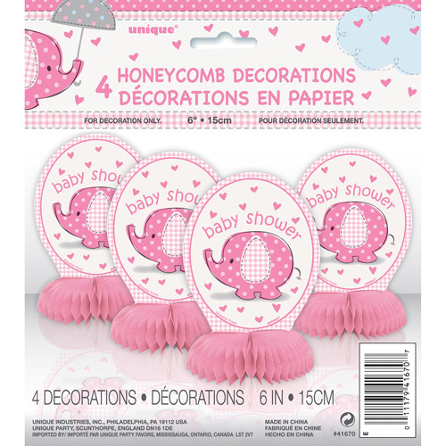 Mini Honeycomb Pink Elephant Baby Shower Decorations, 4pk