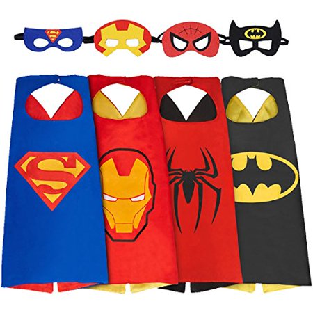 HRBB Cape and Mask Set of 4 Different Superhero Dressing Up Costumes for Kids