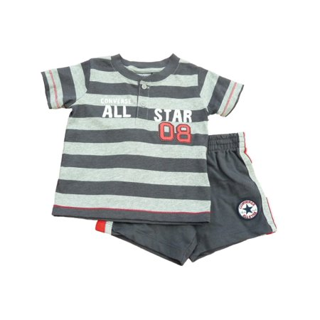 Converse All Star Infant & Toddler Boys Gray Striped Shirt & Shorts Set (Infants Converse Sale)