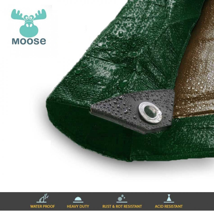 Moose Supply 12 Mil Heavy Duty Waterproof Poly Tarp Covers with Grommets, 10' x 12'