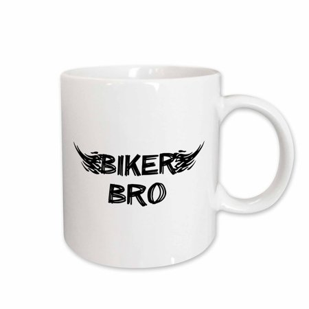 Mens White Ceramic - 3dRose Biker Bro - grunge word art with black and white flames - mens motorbike brother motorcycle culture, Ceramic Mug, 15-ounce