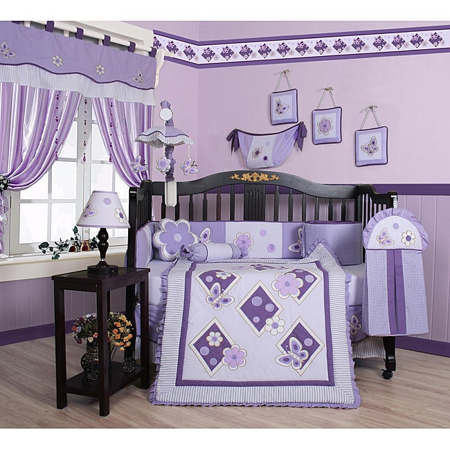 Geenny Lavender Butterfly 13-piece Crib Bedding Set by GEENNY