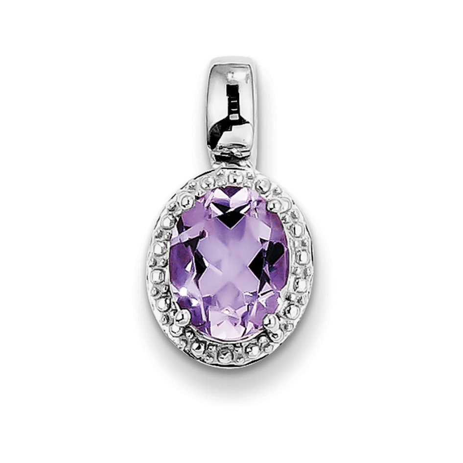 925 Sterling Silver Rhodium Plated with Pink Quartz Oval Shaped Pendant - image 2 de 2