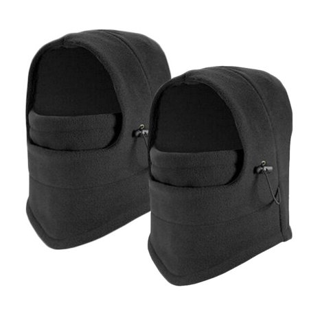 Balaclava Fleece Windproof Ski Mask 2 Pcs,iClover Cold Weather Face Mask Motorcycle Neck Warmer or Tactical Balaclava Hood for Snowboard Cycling Outdoors Sports Unisex-Black