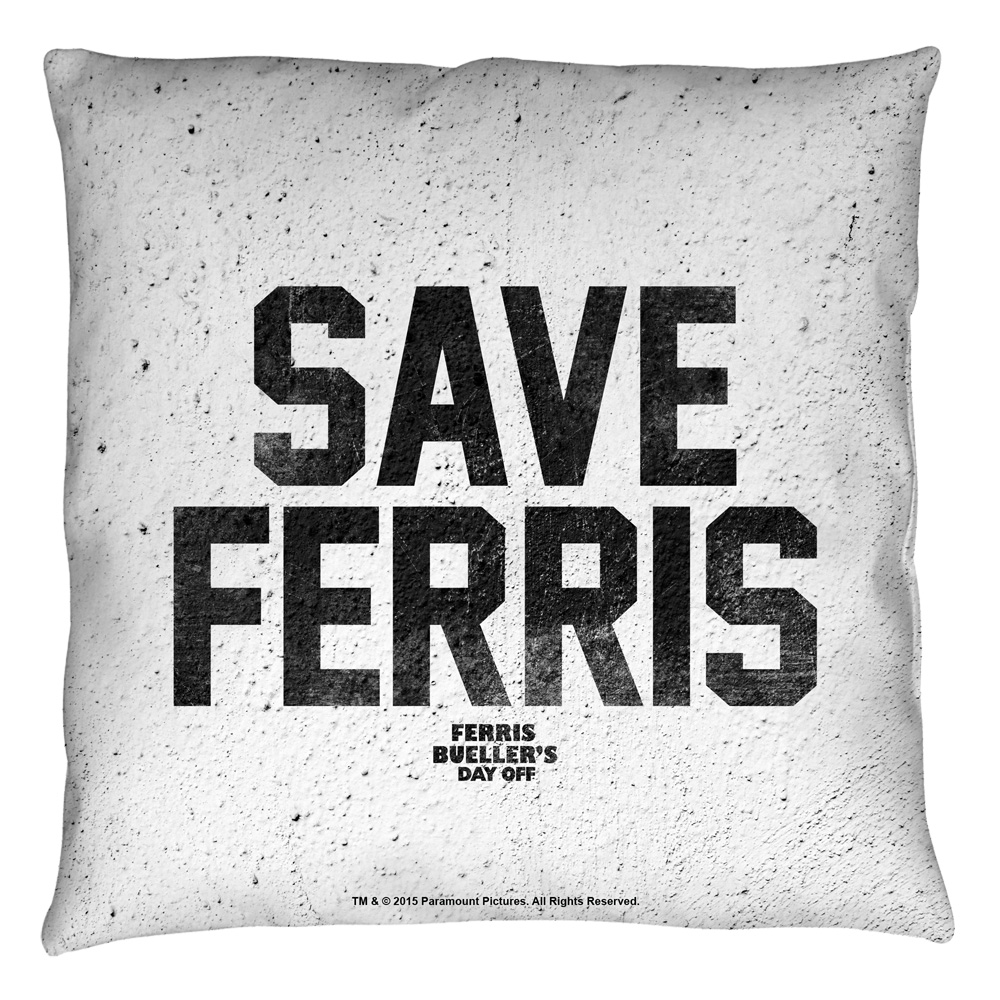 Ferris Bueller Save Ferris Throw Pillow White 18X18