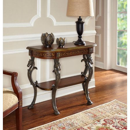 Powell Horse Head Console with Hoofed-foot Cast Legs and Display Shelf
