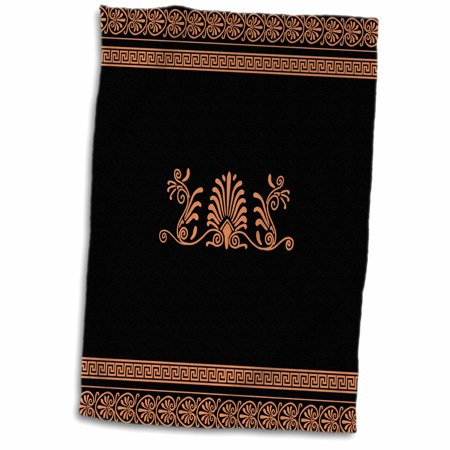 3dRose Orange and Black Ancient Greek Decorative Spirals and Palm Leaves - Traditional Grecian Key - Towel, 15 by 22-inch