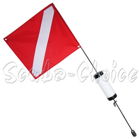 Scuba Diving Spearfishing Free Dive Flag w/ Weight Float 4ft (Medium) ()