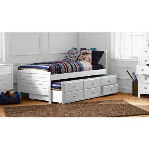 Better Homes and Gardens Kids Panama Beach Twin Captain's Bed with Trundle, White Finish