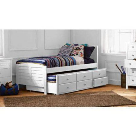 Better Homes Gardens Kids Beach Twin Captain Bed Trundle White