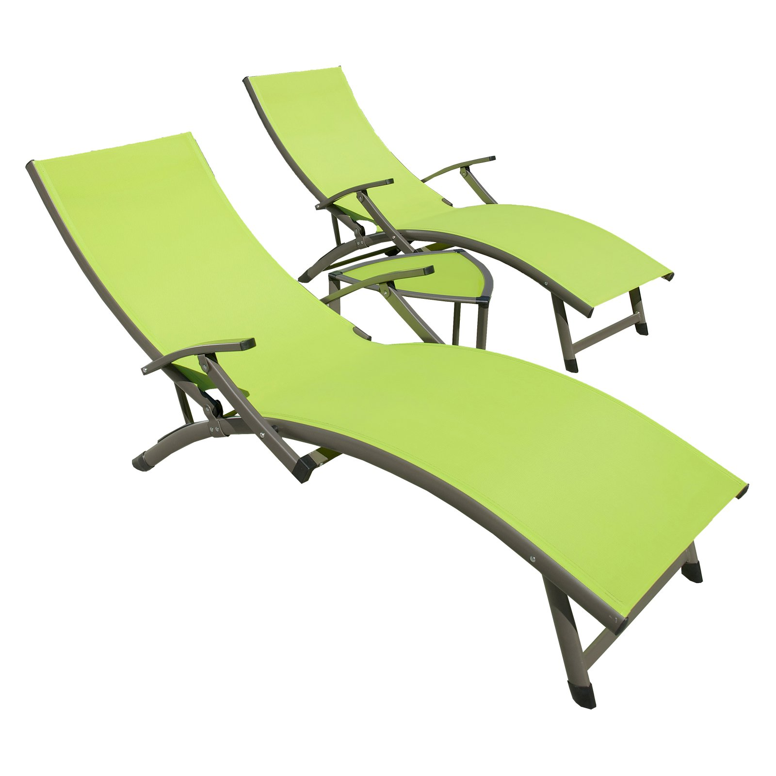 RST Brands Sol Aluminum 3 Piece Sling Patio Chaise Lounge Set