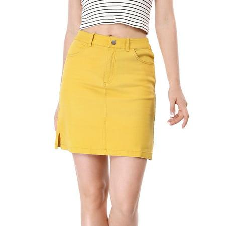 Knee Length Zip Fly Skirt (Unique Bargains Women's Zip Fly Split Sides Above Knee Straight)