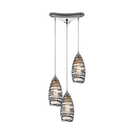 Pendants 3 Light With Polished Chrome Finish Vine Wrap Glass Medium Base 10 inches 225 Watts - World of Lamp