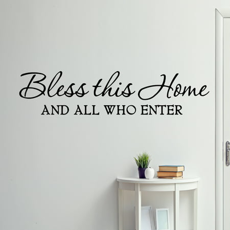 VWAQ Bless This Home and All Who Enter Wall Decals Quotes Religious Sayings Vinyl Wall Art Decor Home Blessing