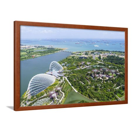 High View Overlooking Gardens by Bay Botanical Gardens with its Conservatories and Supertree Grove Framed Print Wall Art By Fraser Hall