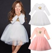 US Kids Baby Girls Party Winter Dress Wedding Bridesmaid Tutu Tulle Lace Dresses