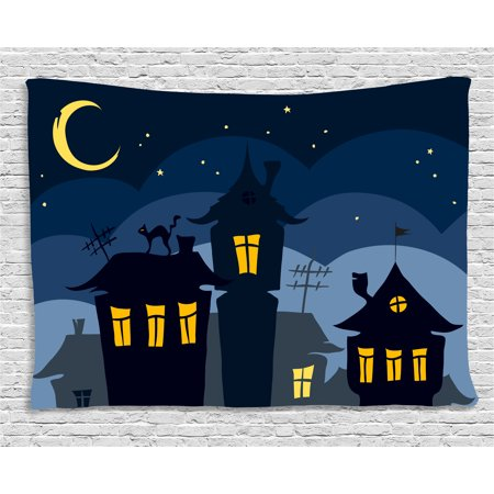 Halloween Tapestry, Old Town with Cat on the Roof Night Sky Moon and Stars Houses Cartoon Art, Wall Hanging for Bedroom Living Room Dorm Decor, 80W X 60L Inches, Black Yellow Blue, by Ambesonne