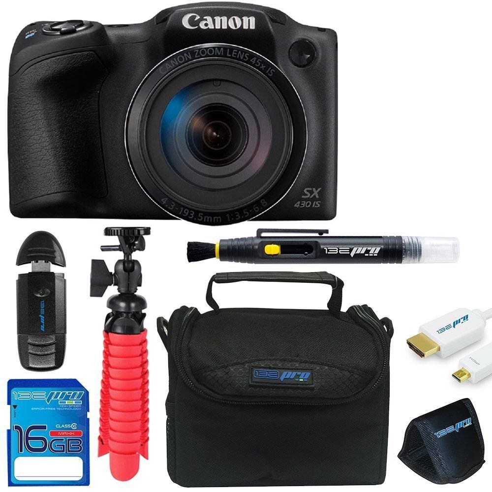 Canon Powershot SX430 (Black) + SD Card + Pixi Basic Accessory Bundle Kit