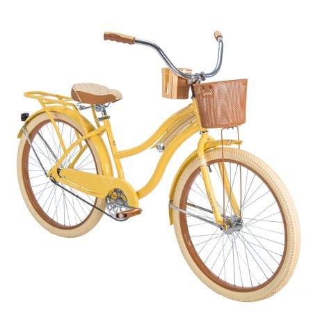 """Huffy 26"""" Nel Lusso Womens Cruiser Bike with Perfect Fit Frame, Yellow"""