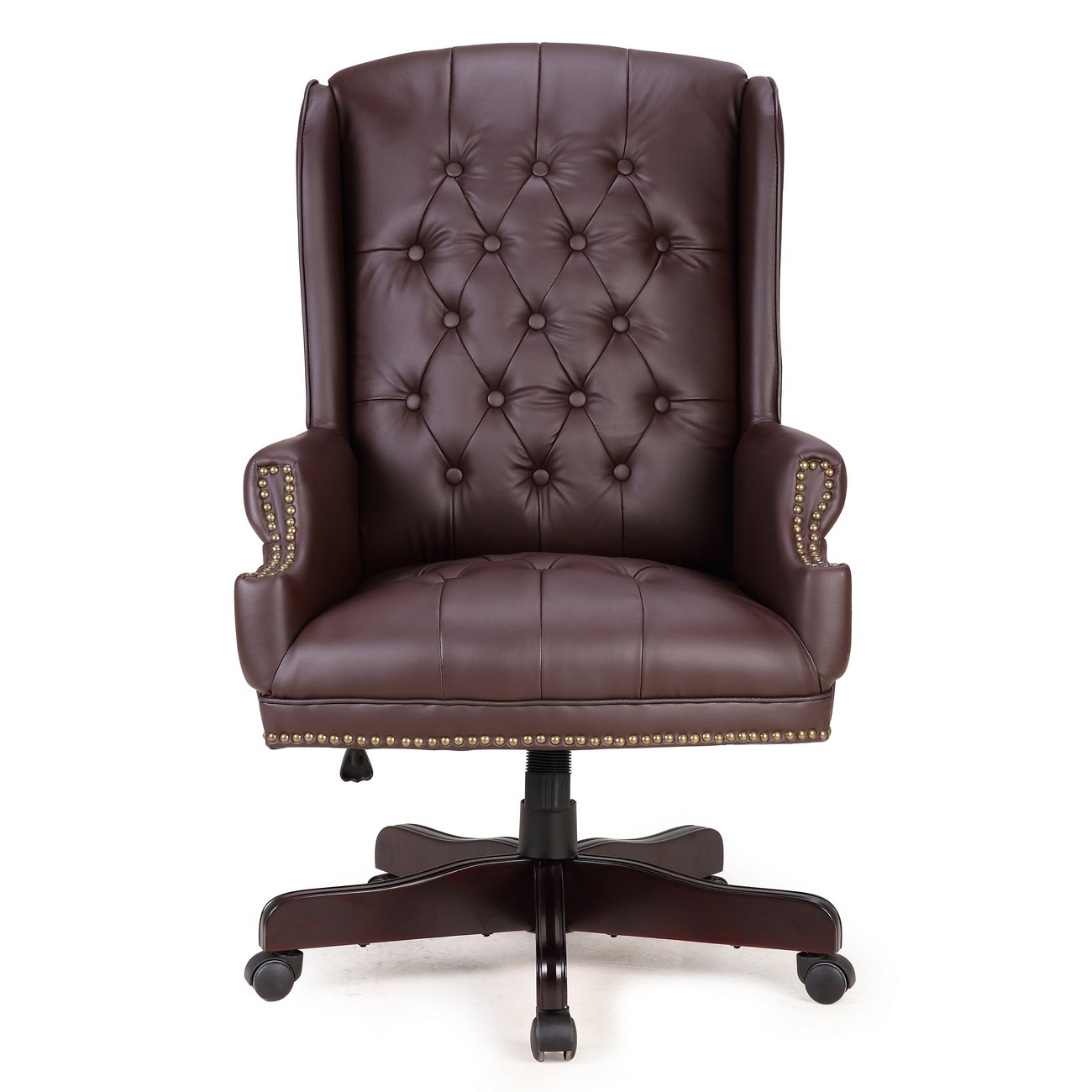 Admirable Belleze Traditional Executive Wingback Office Desk Chair Button Tufted Styling With Faux Leather Wood Base Brown Pabps2019 Chair Design Images Pabps2019Com