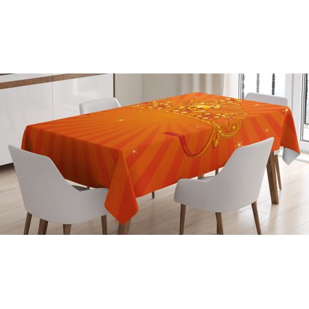 Queen Tablecloth, Fancy Halloween Princess Crown with Little Skull Daisies on Radial Orange Backdrop Stars, Rectangular Table Cover for Dining Room Kitchen, 60 X 84 Inches, Orange, by Ambesonne