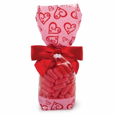 50pcs Pink/Red Valentine Scroll Heart Deluxe Bag for Valentine's day Small - 2 x 2 x 9 (Diy Scroll)