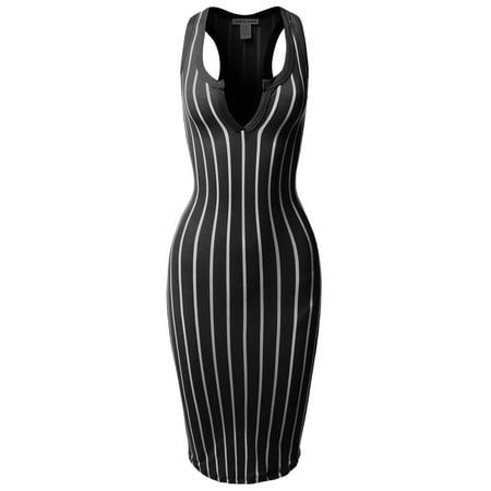 FashionOutfit Women's Pinstripe Sleeveless Open V-Neck Racer-Back Body-Con Midi Dress