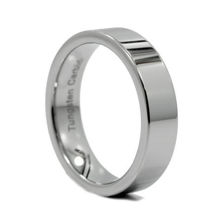 6MM Flat Pipe Cut Tungsten Carbide Wedding Ring Mirror Polished - Palm Tungsten E2 Accessories
