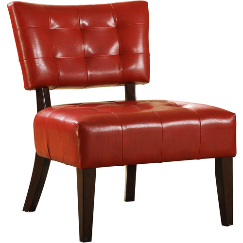 Tufted Accent Chair, Red Faux Leather
