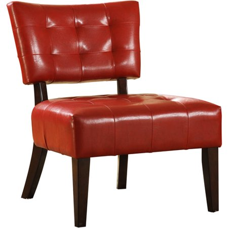 Tufted Accent Chair Red Faux Leather
