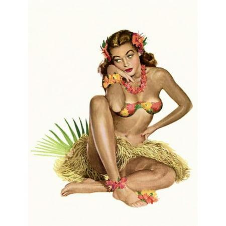 Pin Up Girl Hawaiian Girl With Hula Dress Poster - Hawaiian Hula Dress