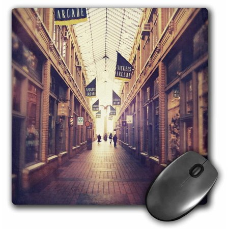3dRose On The Mall - stylized photograph of shopping arcade located in Ann Arbor, Michigan, Mouse Pad, 8 by 8 (Outlet Mall In Michigan)