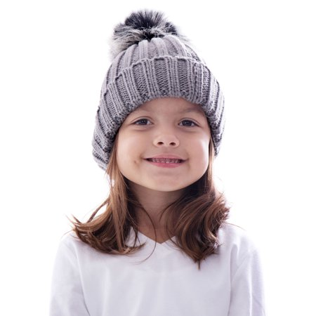 Kids Winter Warm Knit Hat Boys Girls Crochet Pompom Beanie Hat Grey](Grad Hat)