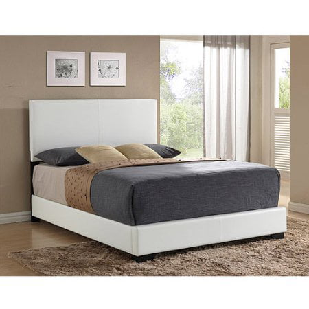 Ireland Full Faux Leather Bed, White (Fuel Leather)