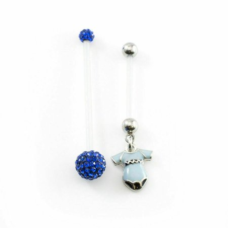 Set Of Maternity Belly Button Ring With Flexi Shaft Disco Balls
