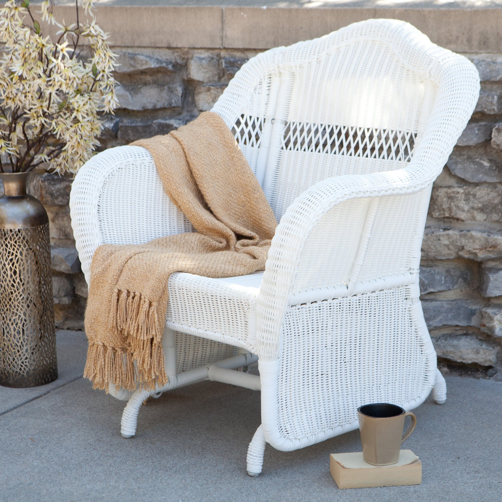 Coral Coast Casco Bay Resin Wicker Outdoor Glider Chair by Chi Wing Rattan Factory