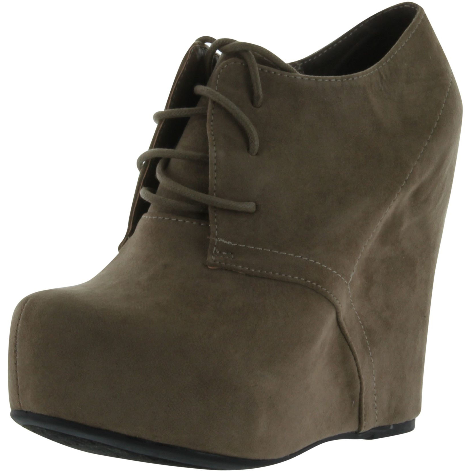 Women's Qupid Worthy-92A Lace Up High Heels Wedge Bootie