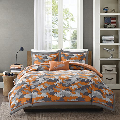 Reversible Kids Boys Camo Print Orange and Grey Comforter Bedding Set with Pillow (Twin... by