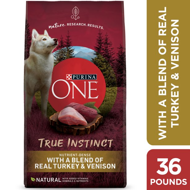 Purina ONE High Protein Natural Dry Dog Food, SmartBlend True Instinct With Real Turkey & Venison, 36 lb. Bag
