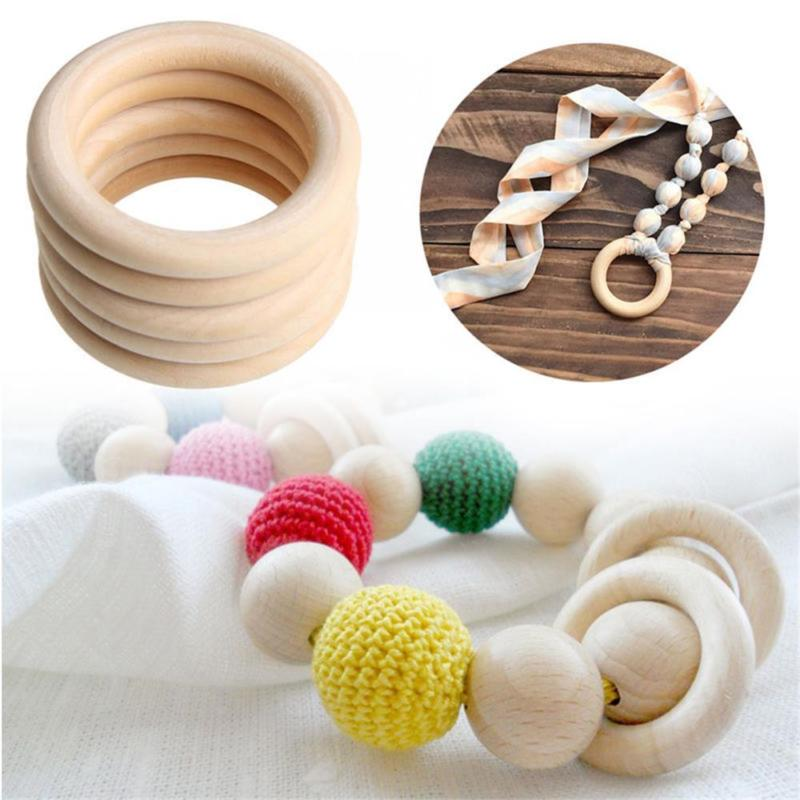 Zerone Baby Teether Toy,10pcs Baby Infant Natural Wood Teething Ring Teether Toy Wooden Bracelet DIY Craft