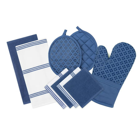 - Sticky Toffee Silicone Printed Oven Mitt & Pot Holder, Cotton Terry Kitchen Dish Towel & Dishcloth, Dark Blue, 9 Piece Set