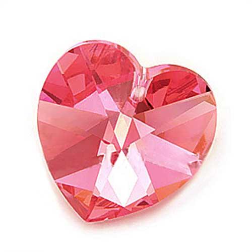 Swarovski Crystal, #6228 Heart Pendant 18mm, 1 Piece, Rose