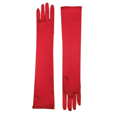 Long Red Gloves Cheap (Long Satin Gloves - Red)