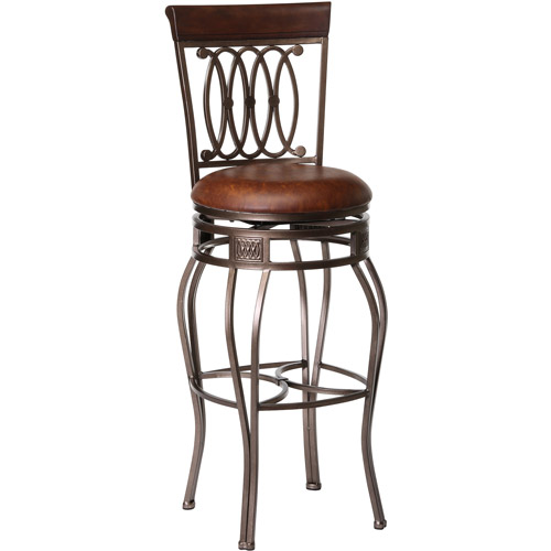 "Hillsdale Furniture Montello 48.5"" Swivel Bar Stool, Old Steel Finish with Brown Faux Leather"