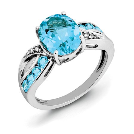 Icecarats 925 Sterling Silver Diamond Swiss Blue Topaz Band Ring Size 6 00  Stone Gemstone  Fine Jewelry Gift Valentine Day Set For Women Heart