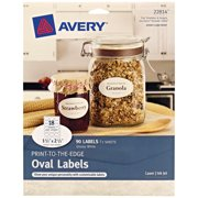 "Avery Oval Labels, Sure Feed, 1.5"" x 2.5"", 90 Glossy Labels (22814)"