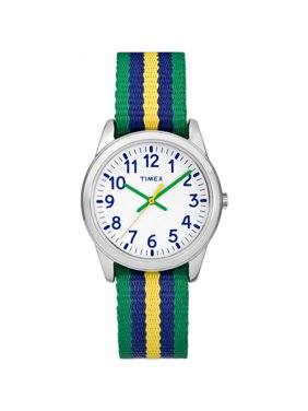 Boys Time Machines Green/Blue/Yellow Stripe Metal Watch, Nylon Strap