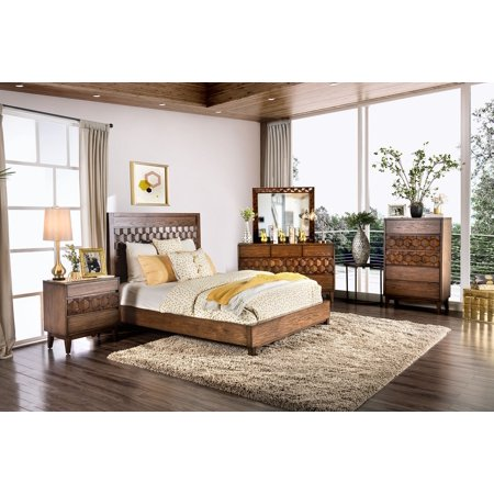 Unique panel hb patterened honeycomb design textured brown - King size bedroom set with mirror headboard ...
